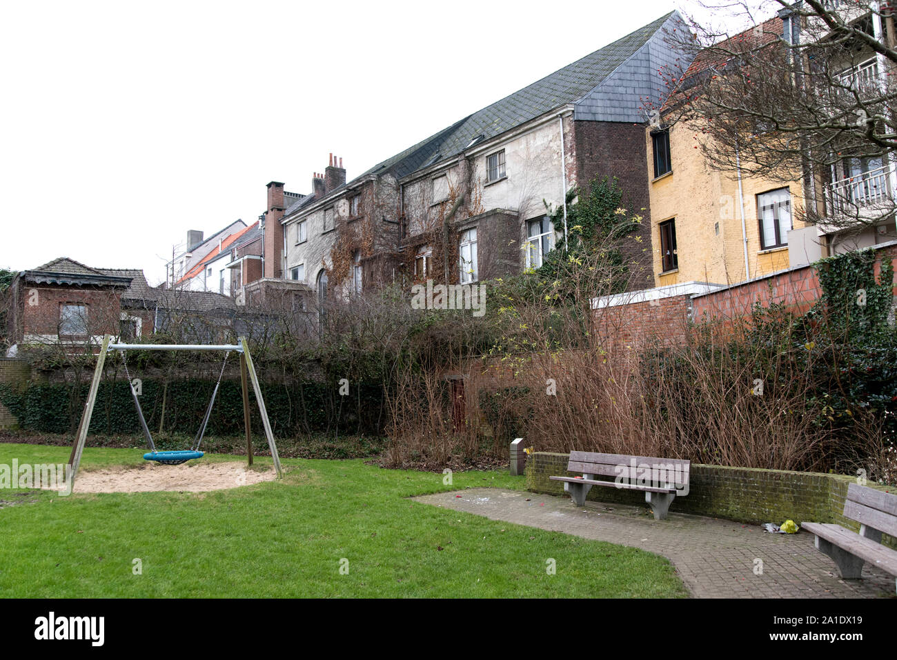 An empty playscape in Ghent, East Flanders, Belgium. Stock Photo