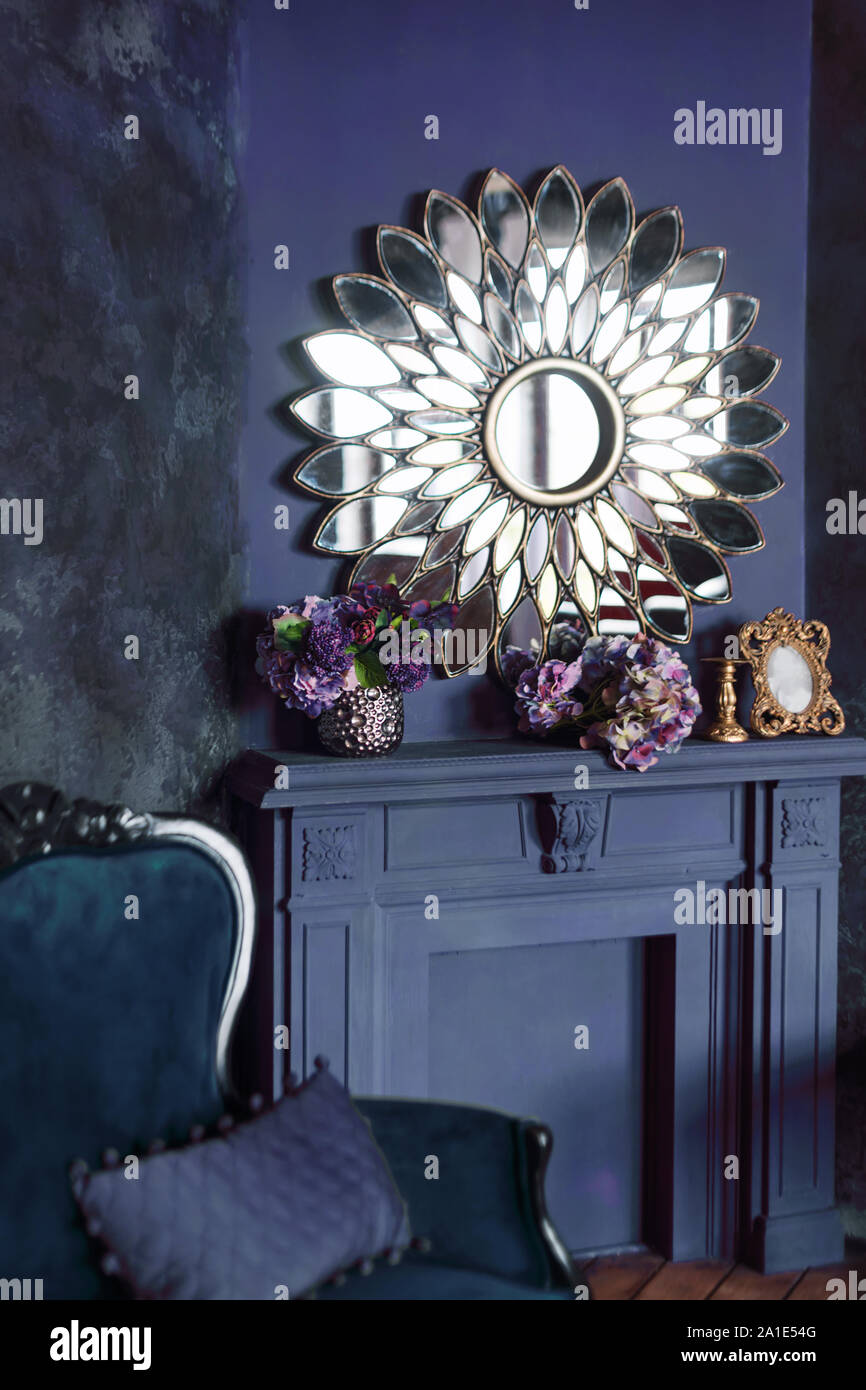 Modern Art Deco Living Room Interior Luxury Interior With Big Mirror Above Fireplace Flowers And Classic Sofa Stock Photo Alamy