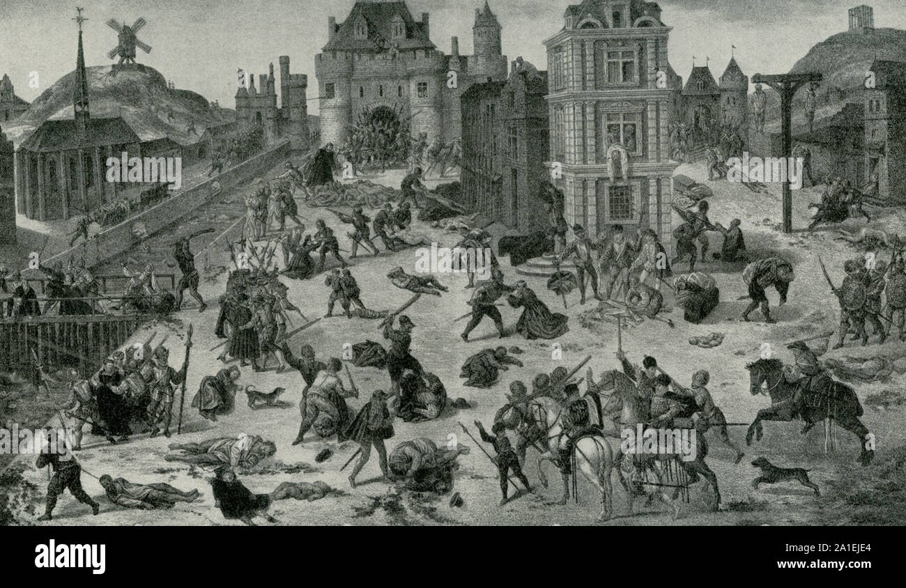 This image is a painting by Francois Dubois and depicts the Bartholomew Day Massacre. The massacre in Paris on August 24/25 in 1572 was a targeted group of assassinations and a wave of Catholic mob violence, directed against the Huguenots during the French Wars of Religion. Stock Photo