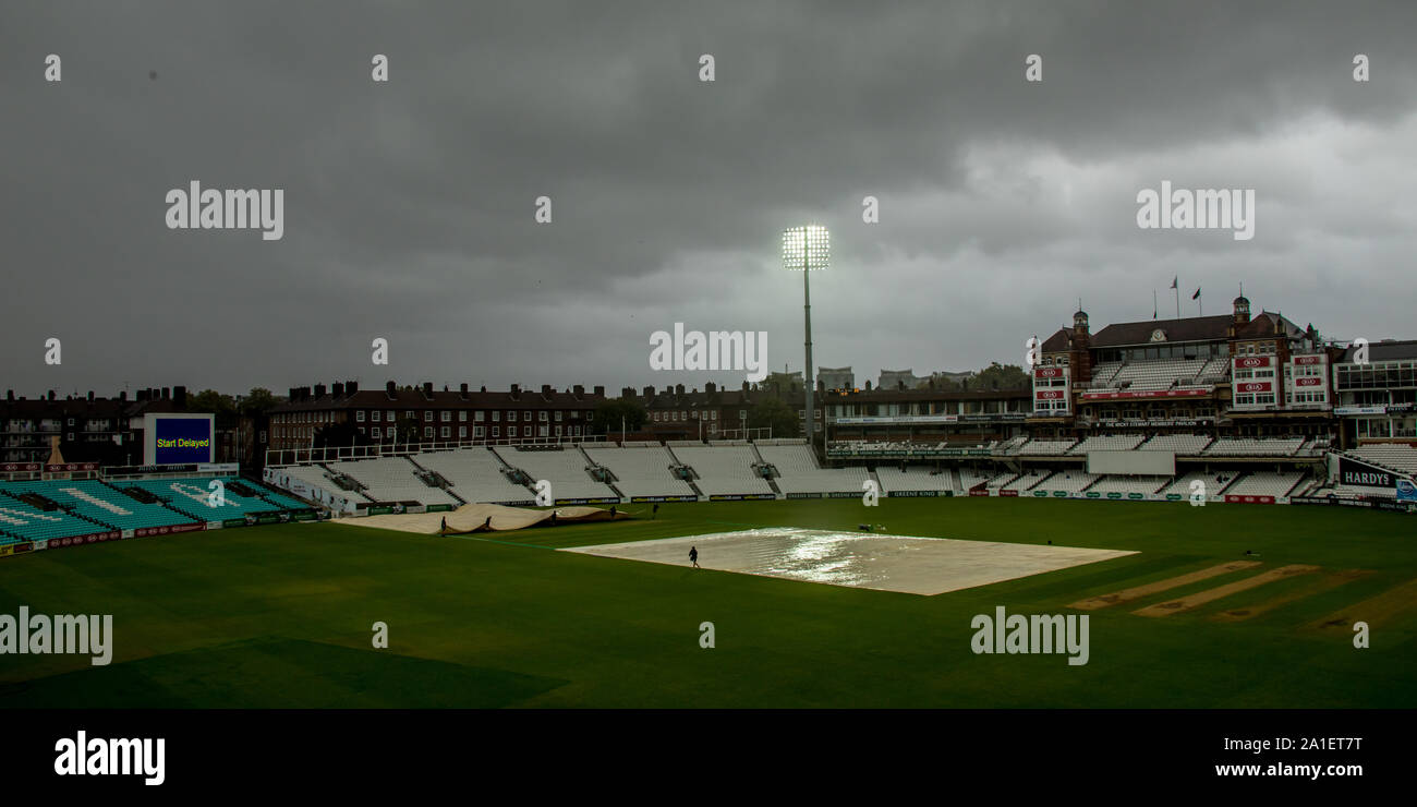 London, UK. 26 September, 2019. Rain and bad light mean a delayed start at the Oval as  Surrey take on Nottinghamshire on the final day of the Specsav Stock Photo