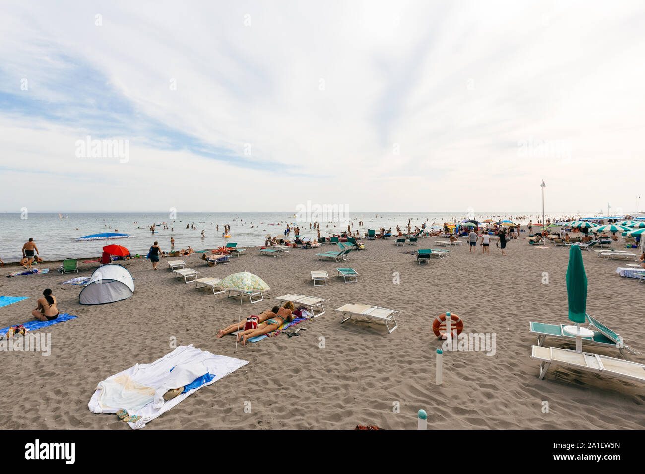 JULY 22, 2019 - GRADO, ITALY - Bathing beach of the upper Adriatic sea at Grado, Northeastern Italy Stock Photo