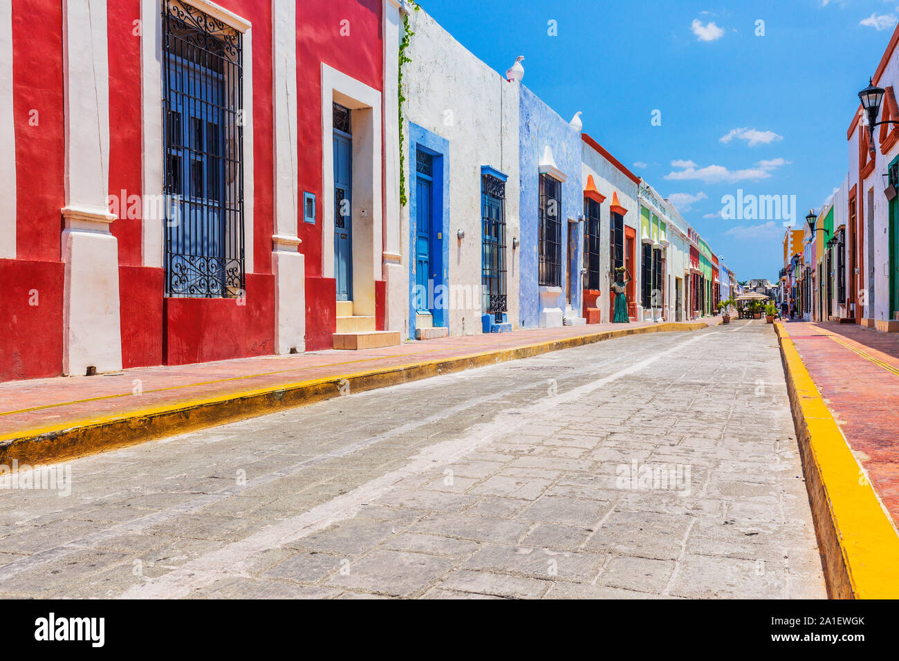 Campeche, Mexico. Street in the Old Town of San Francisco de Campeche. Stock Photo