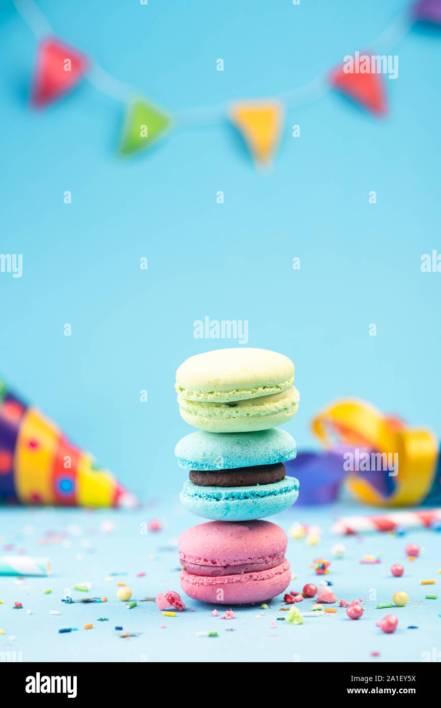 Colorful Macaroons Birthday Card Or Party Invitation Mockup