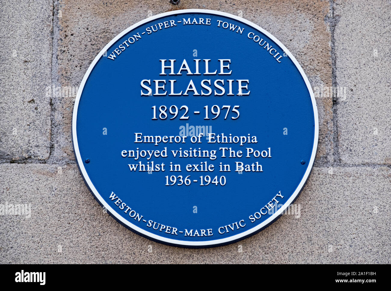 A blue plaque commemorating the Ethiopian emperor Haile Selassie's visits to the former lido in Weston-super-Mare, UK. Stock Photo