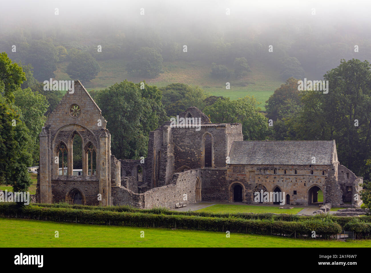 near Llangollen, Denbighshire, Wales, United Kingdom.  The Cistercian Valle Crucis Abbey or Valley of the Cross Abbey. Full name is Abbey Church of th Stock Photo
