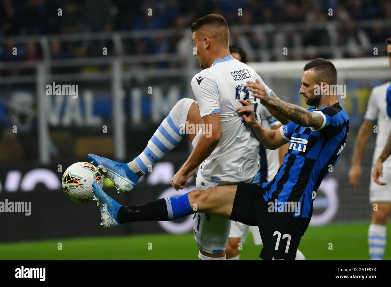 SERGEJ MILINKOVIC SAVIC LAZIO AND MARCELO BROZOVIC INTER during Inter Vs  Lazio , Milano, Italy, 25 Sep 2019, Soccer Italian Soccer Serie A Men  Champi Stock Photo - Alamy