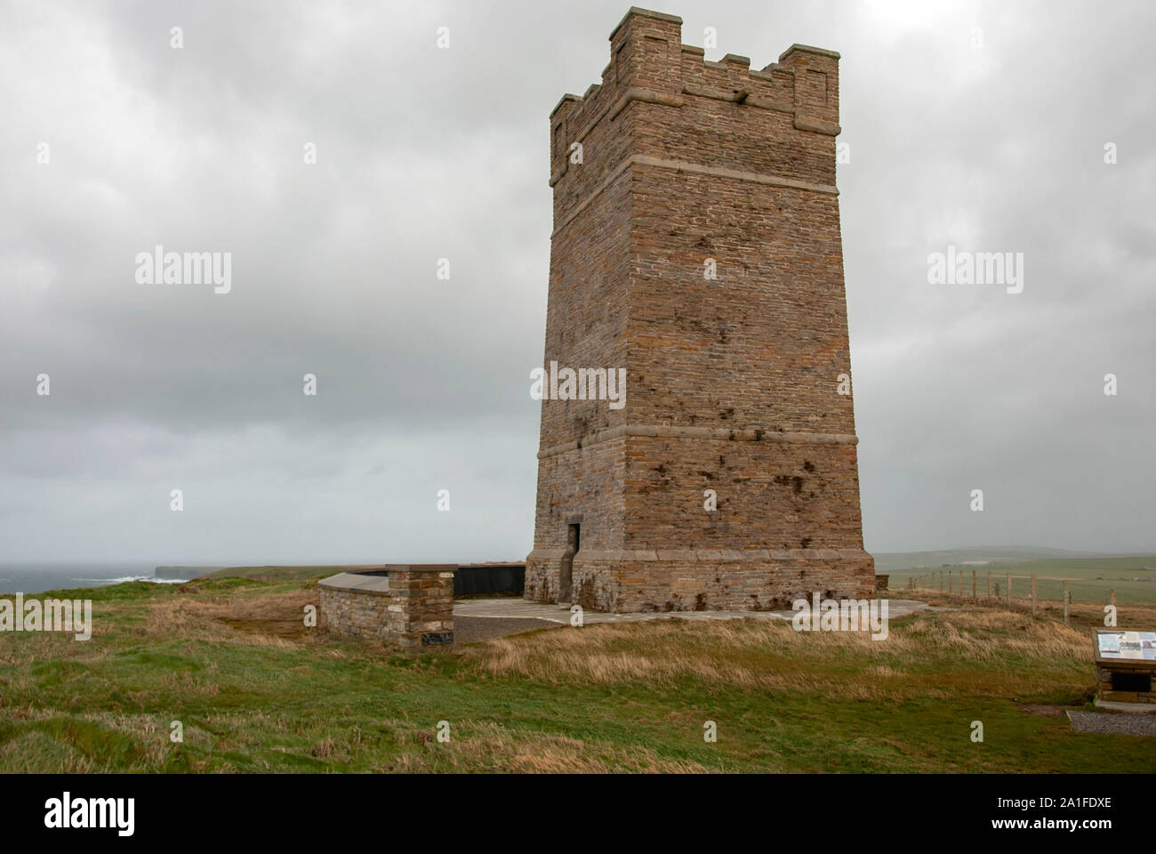 Field Marshall Earl Kitchener of Khartoum Memorial Tower Marwick Head Dounby West Mainland Orkney Isles Scotland United Kingdom south west aspect of 1 Stock Photo