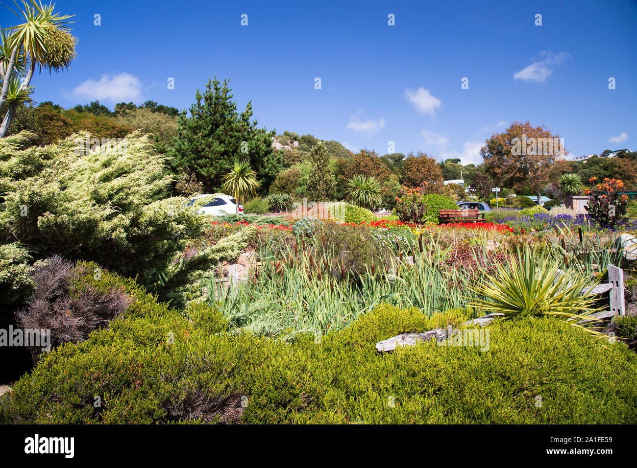 The colourful Winston Churchill Memorial Gardens at St Brelades, Jersey, Channel Islands Stock Photo