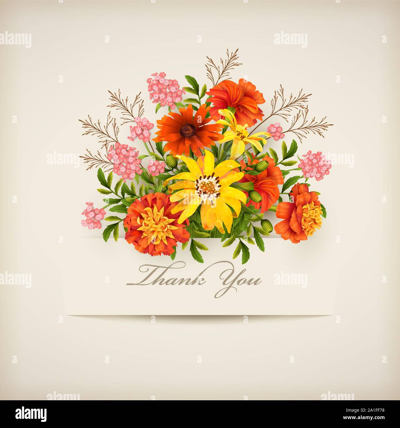 Floral 'Thank you' card with different flowers and paper banner. Thanksgiving card with a bouquet of autumn flowers Stock Vector
