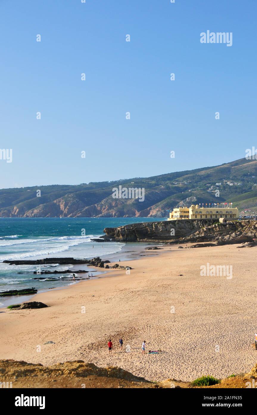 Guincho beach and Serra de Sintra. Cascais, Portugal Stock Photo