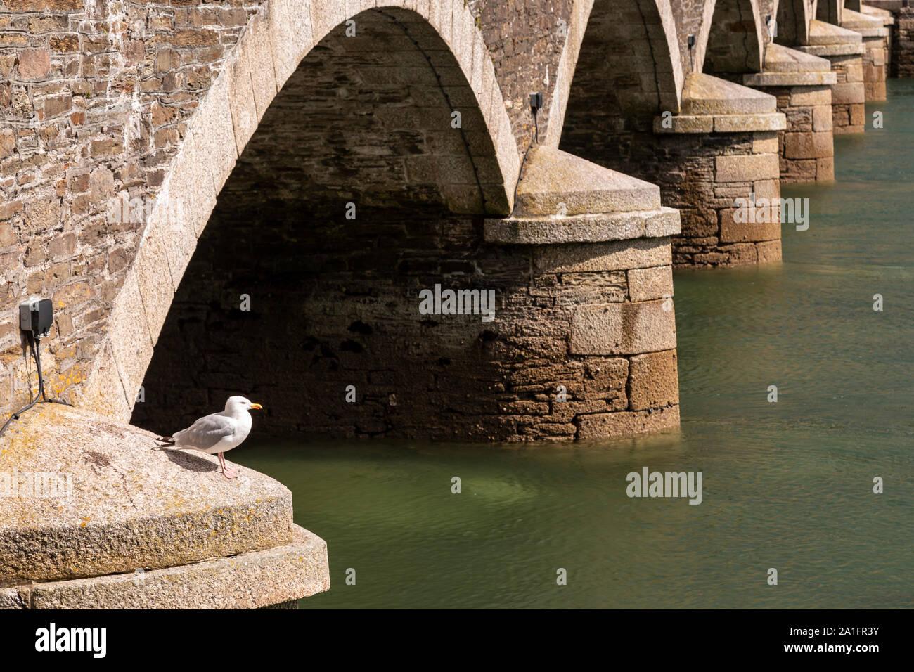 Bridge at Looe harbour, Cornwall, England Stock Photo