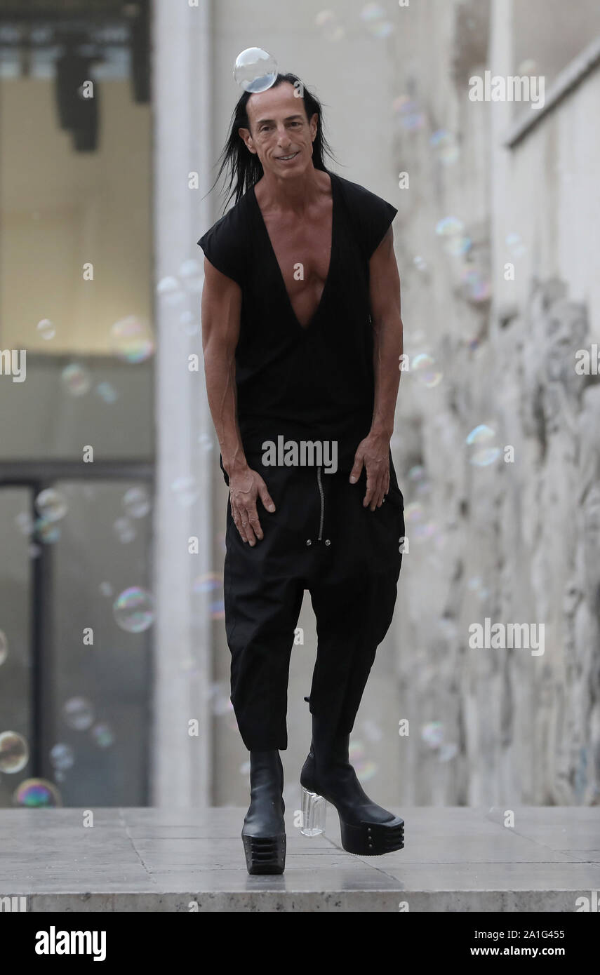 Paris France 26th Sep 2019 Us Fashion Designer Rick Owens Salutes The Audience At The End Of The Presentation Of His Spring Summer 2020 Ready To Wear Collections During Paris Fashion Week In Paris On