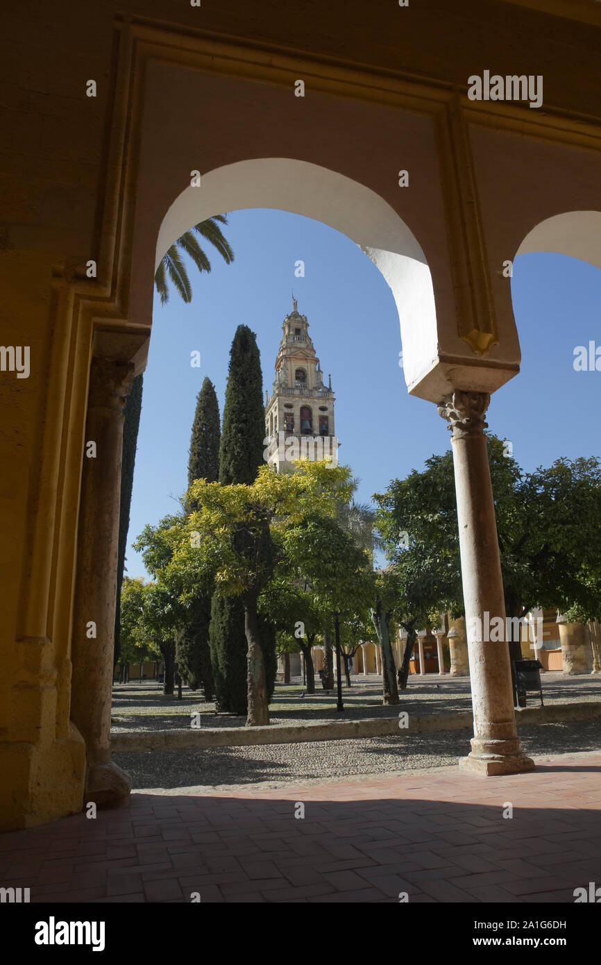 Courtyard and belfry of the mosque-cathedral of Cordoba. Stock Photo