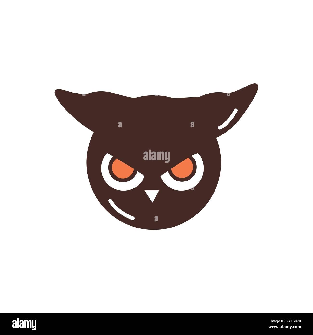 Scary Owl Face Cartoon Trick Or Treat Happy Halloween Stock Vector