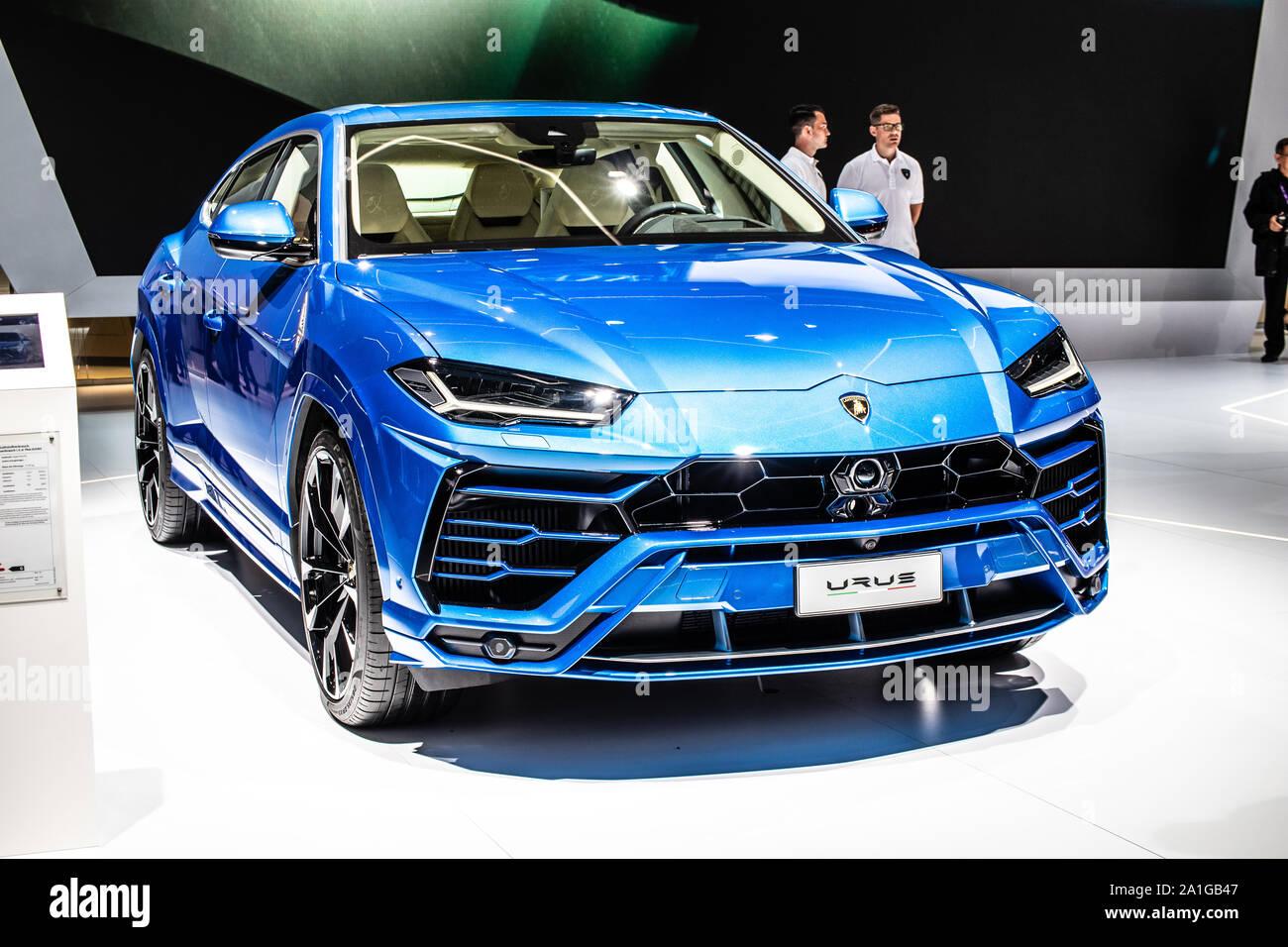 Frankfurt Germany Sep 10 2019 Metallic Blue Lamborghini