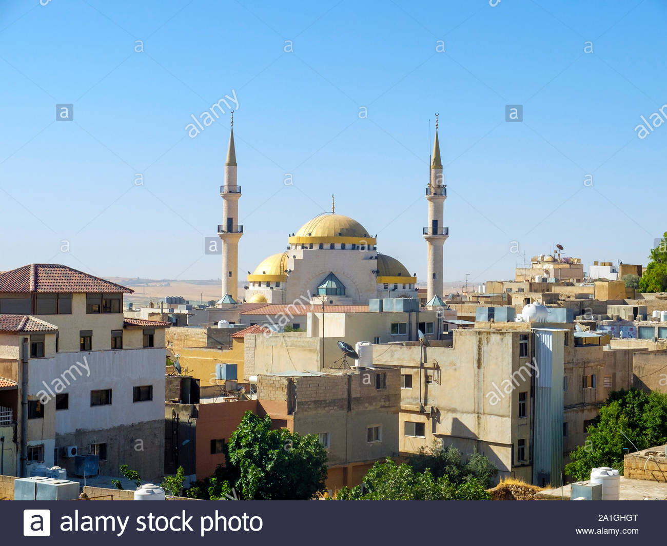 Jordan, Madaba Governorate, Madaba. King Hussein Mosque. Stock Photo