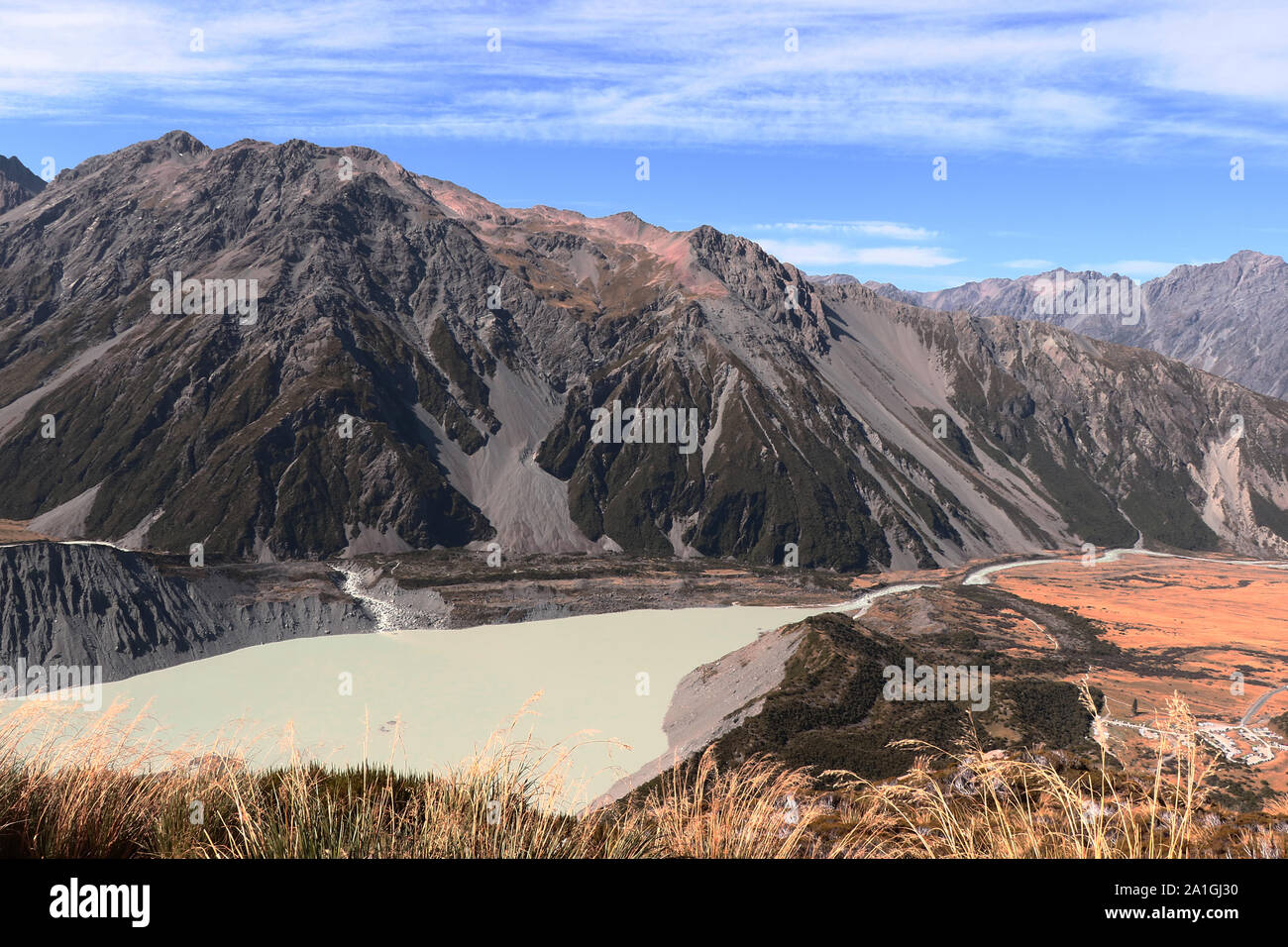 Muller hut track in New Zealand, South Island, Mount Cook area, view to Mueller lake and Hooker Lake Stock Photo