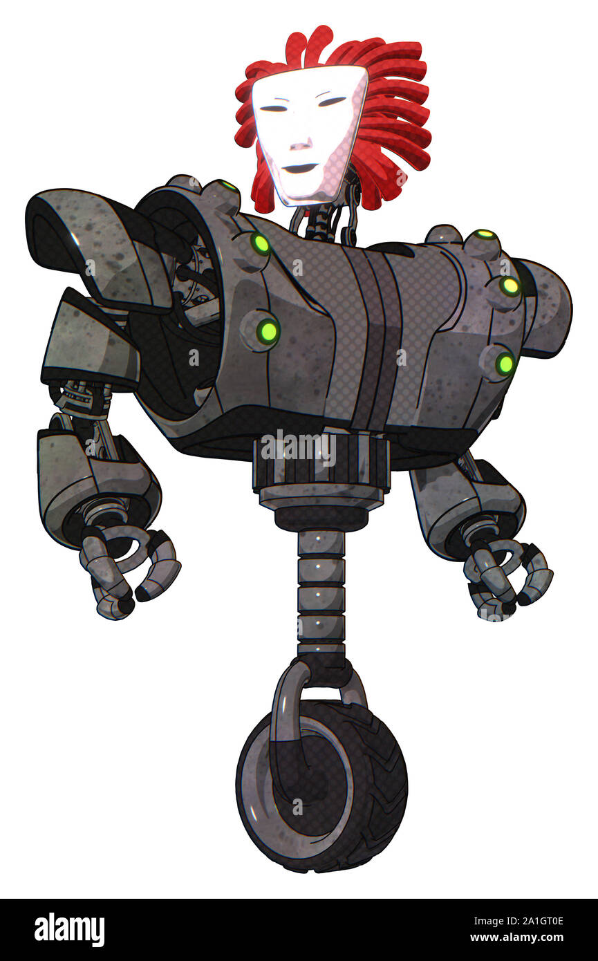 Bot containing elements: humanoid face mask, heavy upper chest, heavy mech chest, green cable sockets array, unicycle wheel. Material: Unpainted metal Stock Photo
