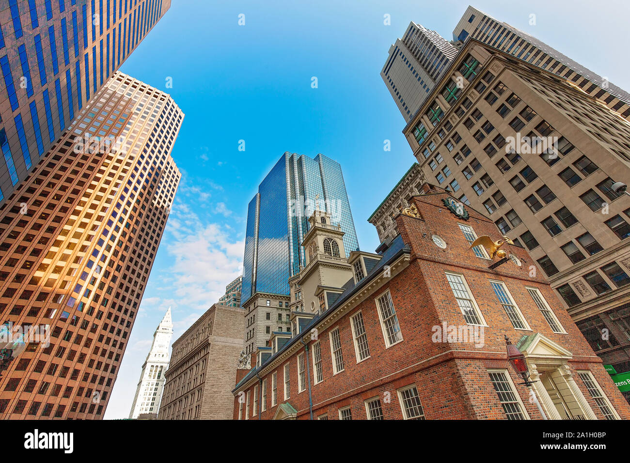 Massachusetts Old State House in Boston historic city center, located close to landmark Beacon Hill and Freedom Trail Stock Photo