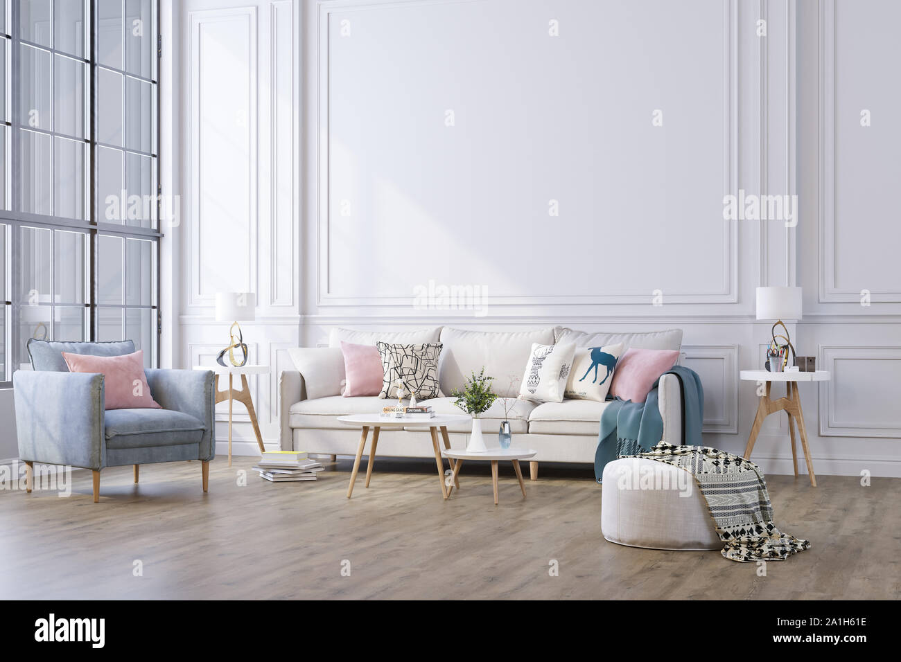 Decorative Background For Home Office And Hotel Modern Interior Design Living Room Sofa And Modern Interior Details On The Background Of A White Cla Stock Photo Alamy