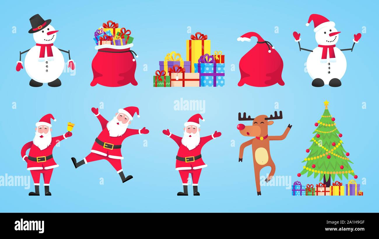 Santa Claus Gift Bags With Gifts Snowman Christmas Tree Reindeer Set Flat Style Character Vector Illustration Christmas Eve Mascots And Symbol Is Stock Vector Image Art Alamy