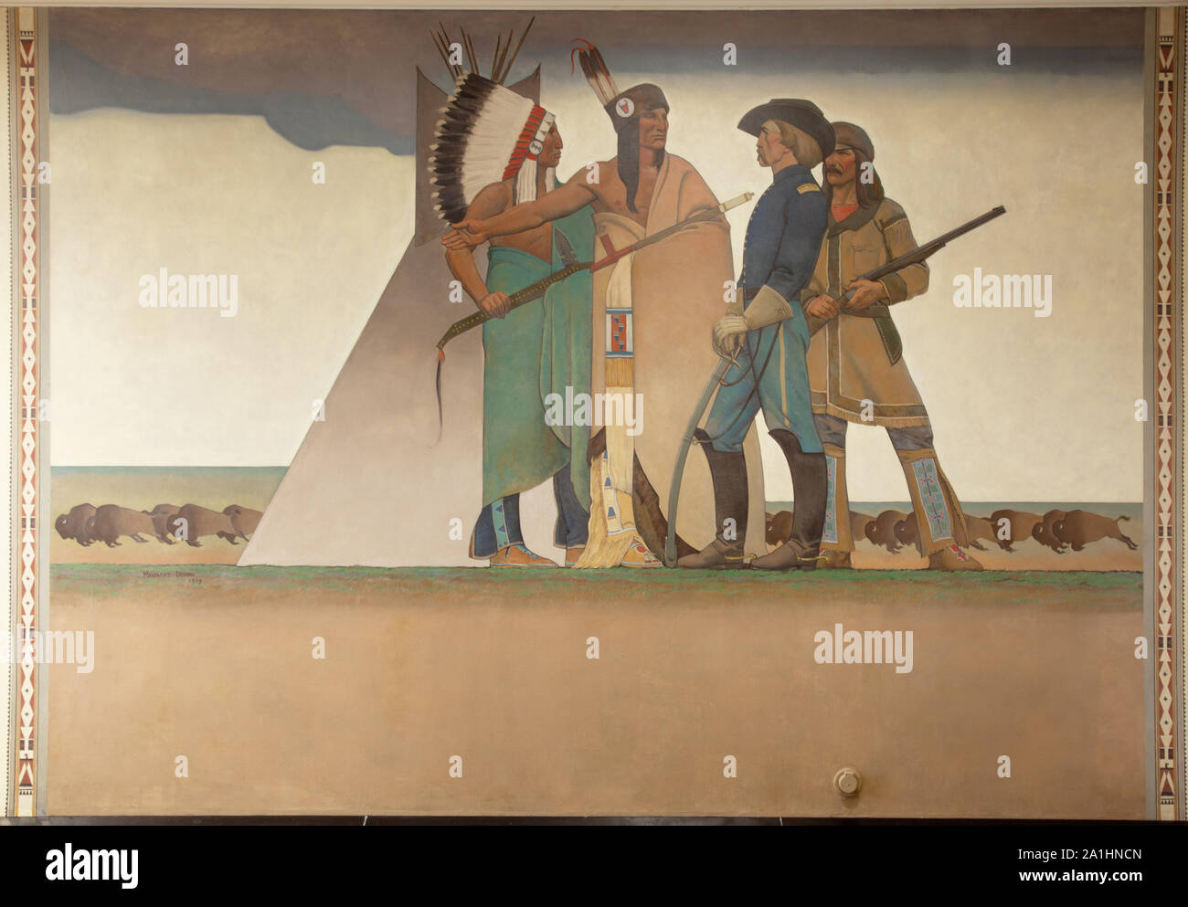 Mural Bureau of Indian Affairs: Indian & Soldier, by Maynard Dixon at the Department of Interior Building, Washington, D.C Stock Photo
