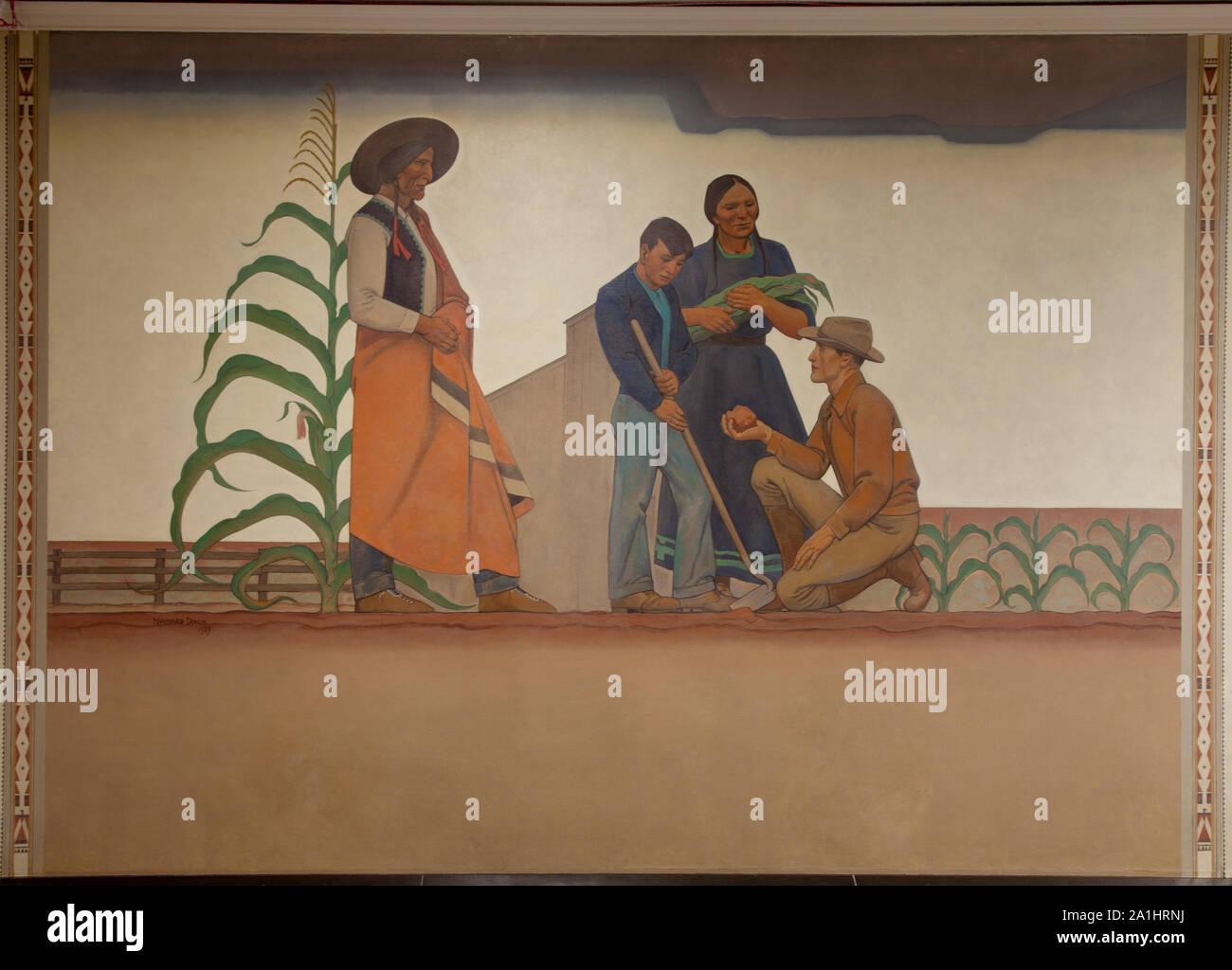 Mural: Bureau of Indian Affairs: Indian & Teacher, by Maynard Dixon at the Department of Interior, Washington, D.C Stock Photo