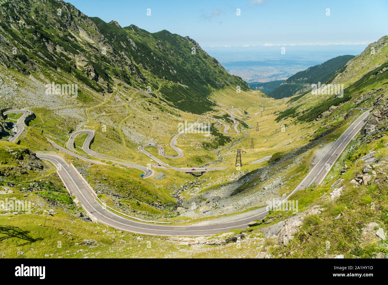 Top summer view on a famous Transfagarasan Road in Romanian Carpathian Moutains, Romania Stock Photo
