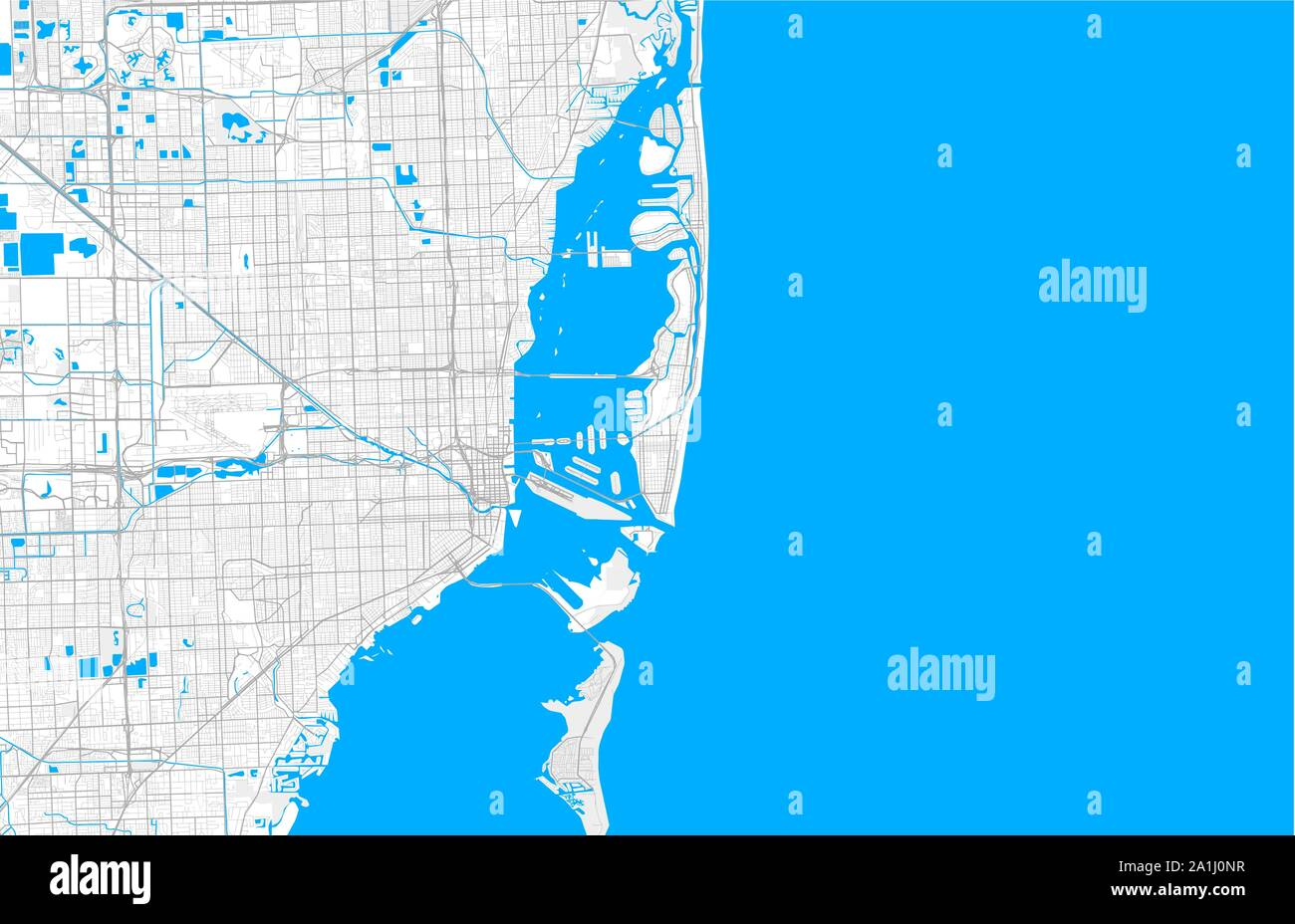 rich detailed vector area map of miami beach, florida, usa