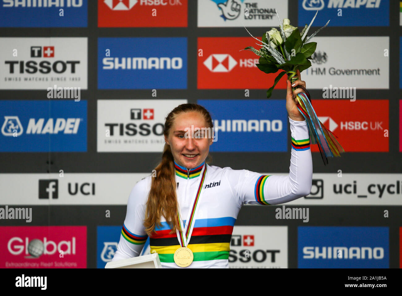 Harrogate, UK. 27th September 2019. Megan Jastrab  of the USA takes Gold in the 2019 UCI Road World Championships Womens Junior Road Race. September 27, 2019 Credit Dan-Cooke/Alamy Live News Stock Photo