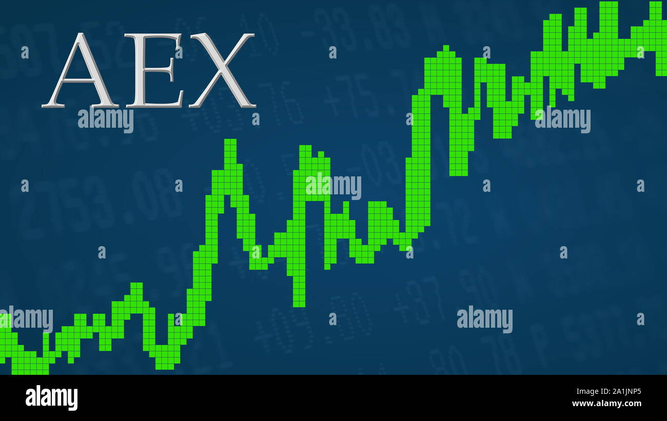 The Amsterdam Exchange index AEX is going up. The green graph next to the silver AEX title on a blue background is showing upwards and symbolizes the... Stock Photo