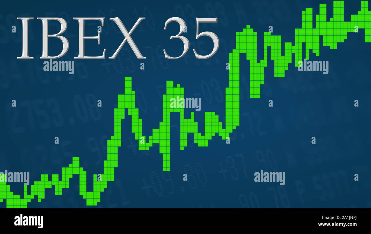 The Spanish stock market index IBEX 35 is going up. The green graph next to the silver IBEX 35 title on a blue background is showing upwards and... Stock Photo