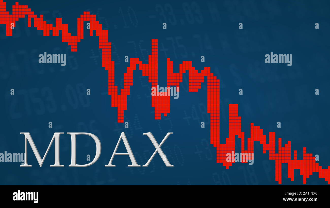 The German stock market index MDAX is falling. The red graph next to the silver MDAX title on a blue background is showing downwards and symbolizes... Stock Photo