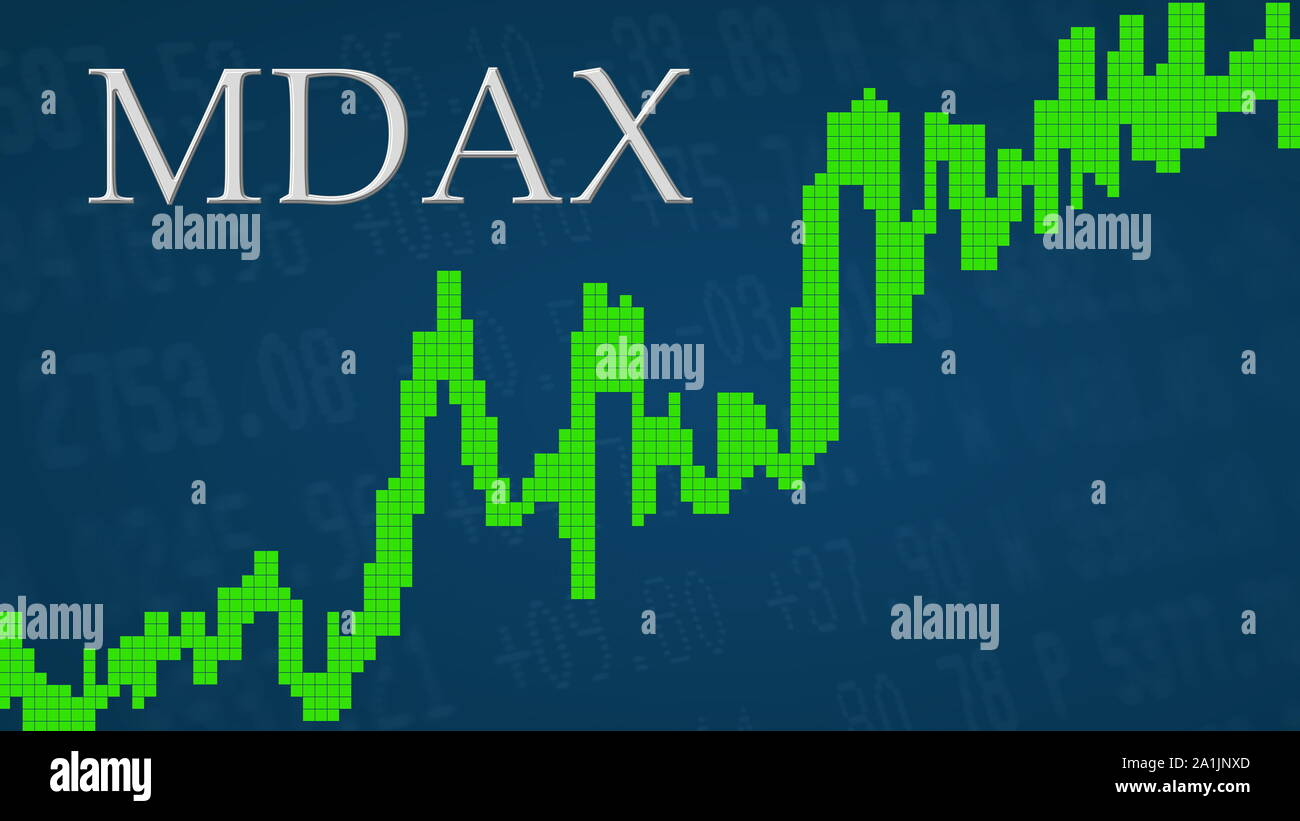 The German stock market index MDAX is going up. The green graph next to the silver MDAX title on a blue background is showing upwards and symbolizes... Stock Photo