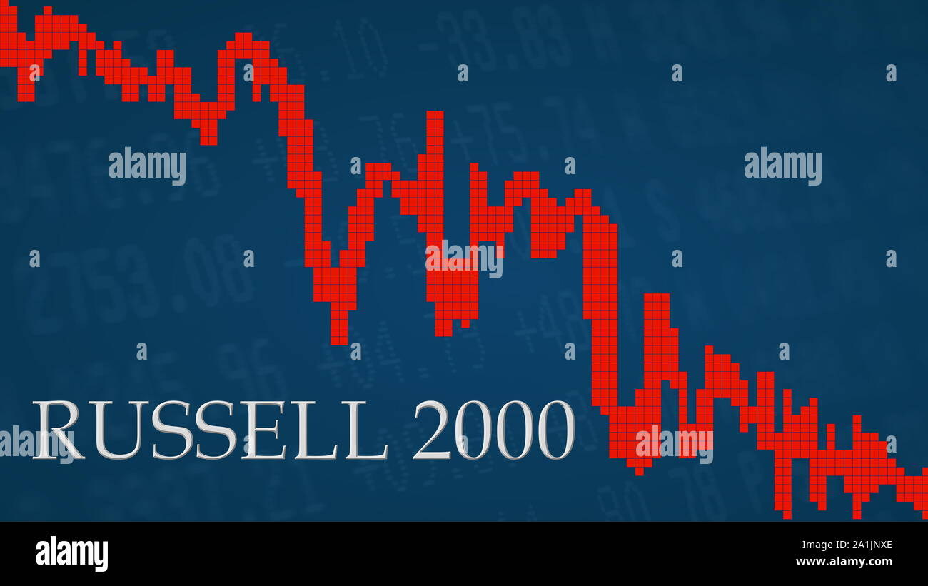 The American small-cap stock market index Russell 2000 is falling. The red graph next to the silver Russell 2000 title on a blue background is showing... Stock Photo