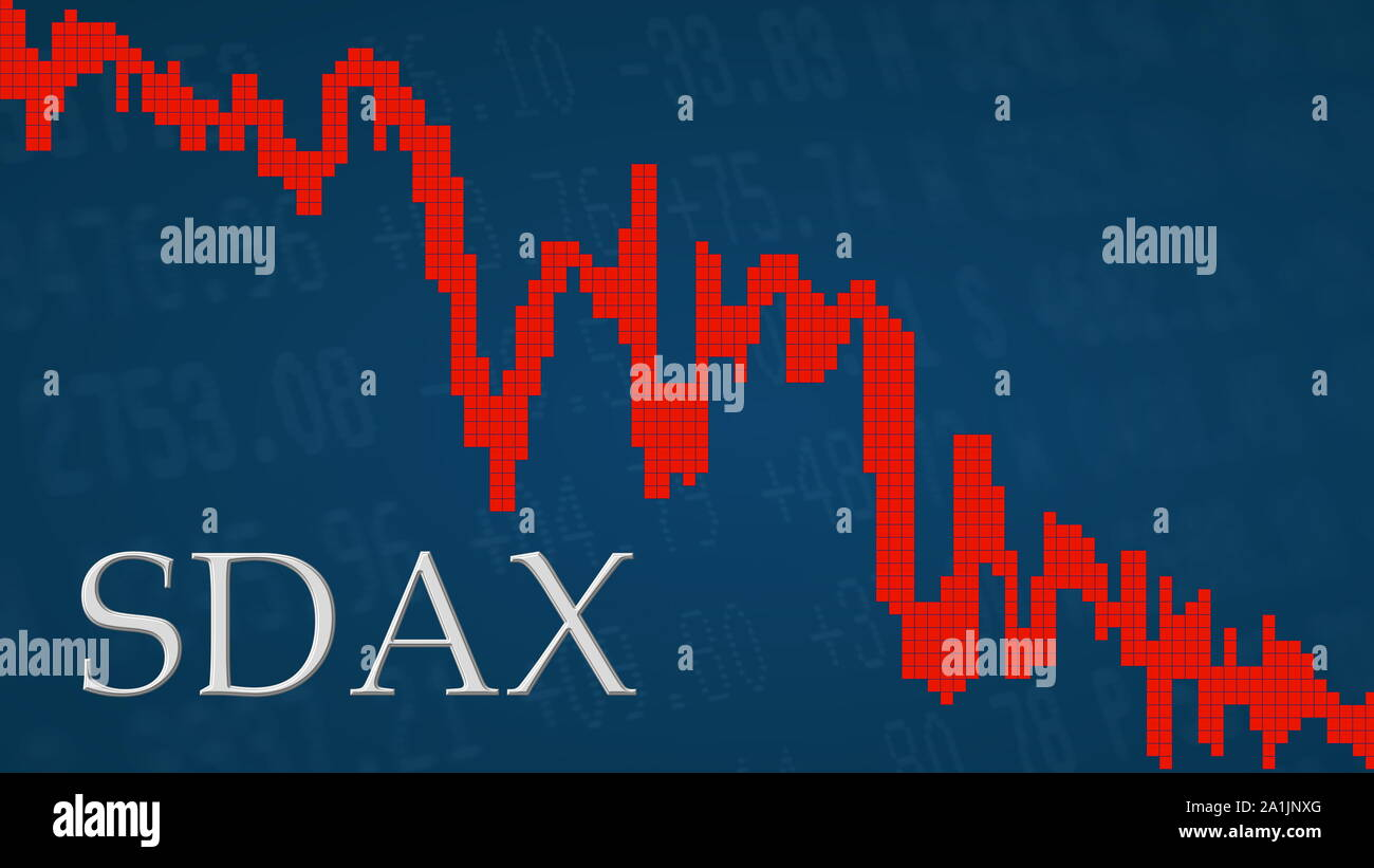 The German stock market index SDAX is falling. The red graph next to the silver SDAX title on a blue background is showing downwards and symbolizes... Stock Photo