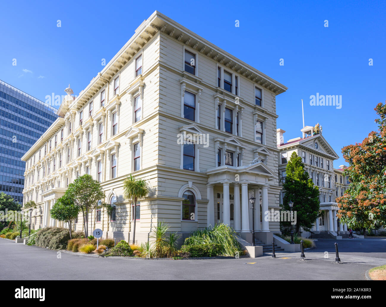The wooden-constructed Old Government Buildings (1876), on Lambton Quay, were built to house New Zealand's civil service.  Wellington, New Zealand Stock Photo