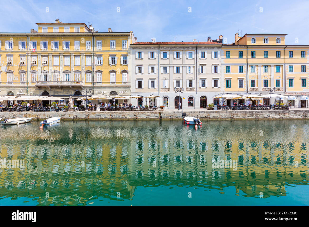 JULY 22, 2019 - TRIESTE, ITALY - Canal Grande, the Grand Canal, is a navigable canal that crosses the historical center of Trieste and reaches the sea Stock Photo