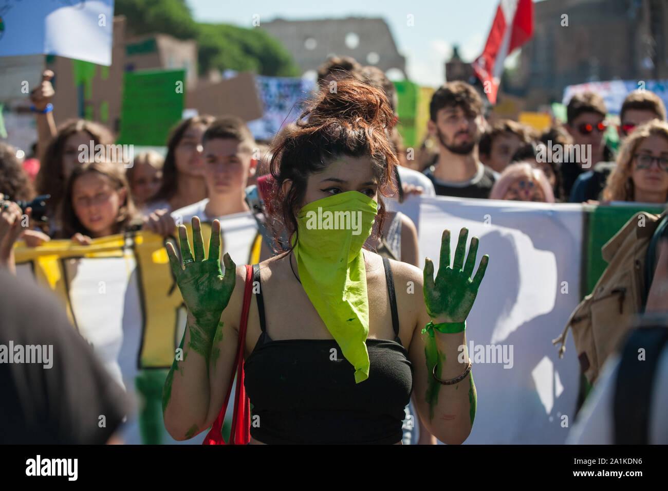 Roma, 27/09/2019: Climate global strike, Fridays for Future. Stock Photo
