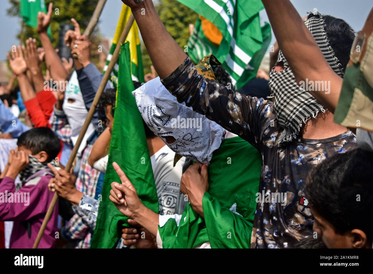 Protesters make gestures during the demonstration.A rally was held in Srinagar city soon after the Friday prayers following the scrapping of Article 370 by the central government which grants special status to Jammu & Kashmir. Stock Photo