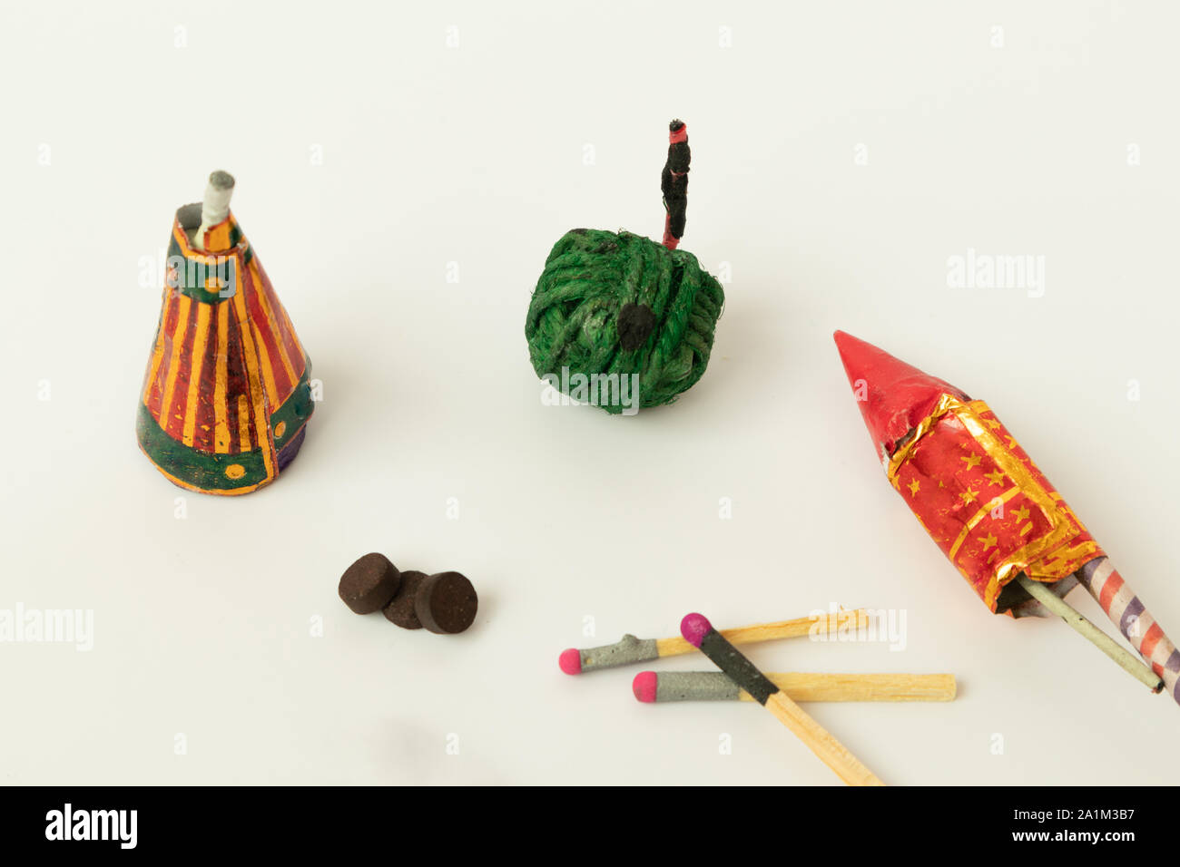 Close up of different types of Diwali Firecrackers on isolated background with copy space. Stock Photo
