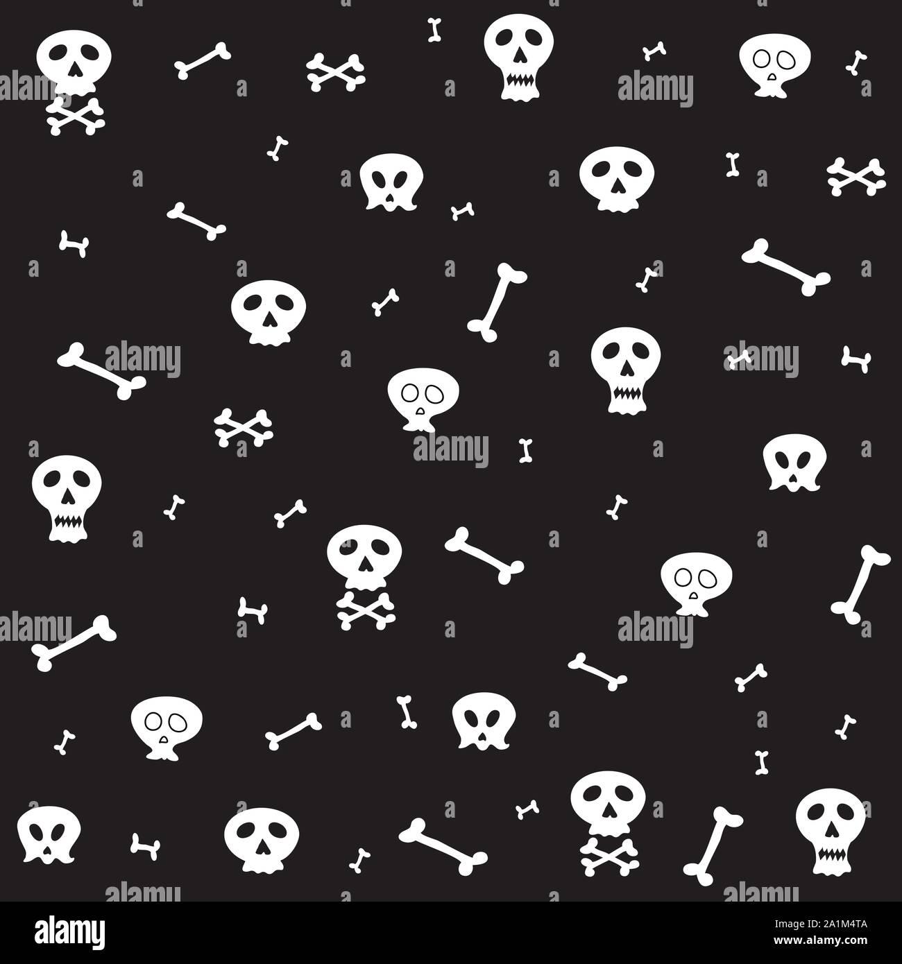 Skull Bone Seamless Pattern Halloween Scarf Isolated Cartoon
