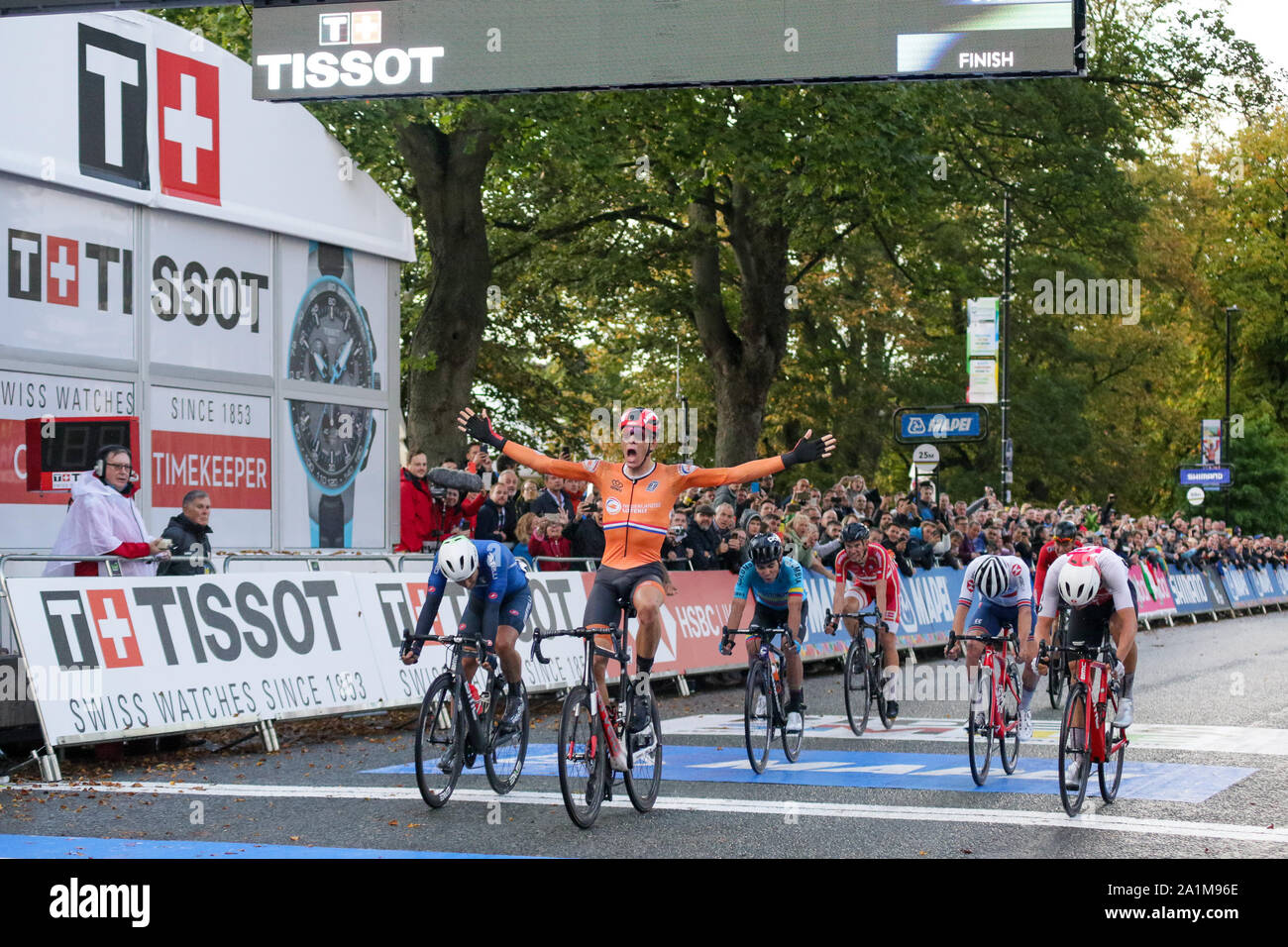 Harrogate, UK. 27th September 2019. Nils Eekhoff  of the Netherlands is disqualified for drafting 2019 UCI Road World Championships Mens U23 Road Race. September 27, 2019 Credit Dan-Cooke/Alamy Live News Stock Photo