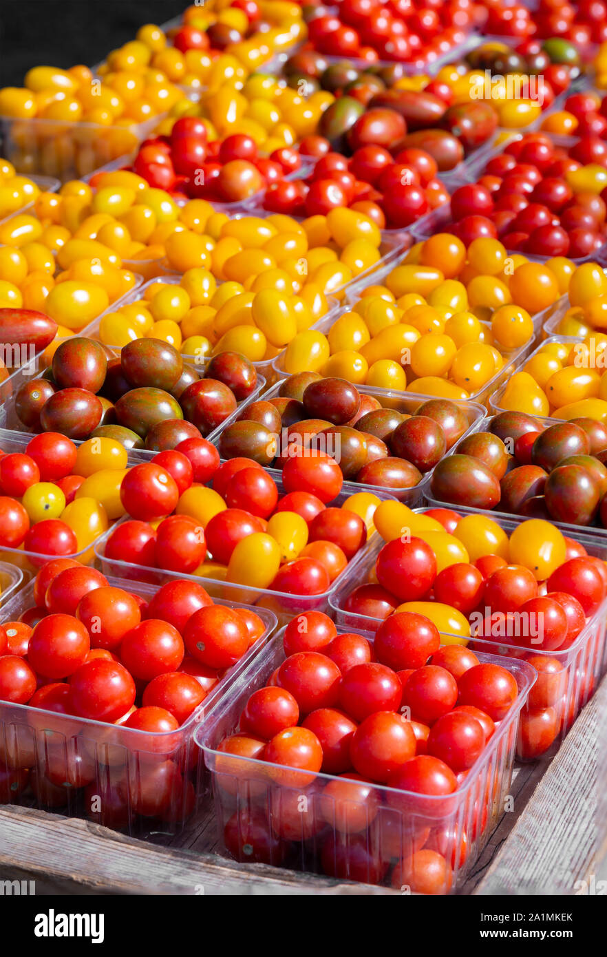 Many varieties of cherry and grape tomatoes at a local farmer's market Stock Photo