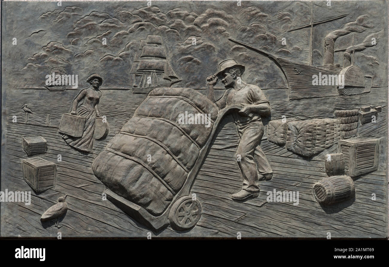 One of six 11-by-16-foot concrete panels portraying a moment in Texas history on the wall of the Bob Bullock State History Museum in Austin, Texas Stock Photo