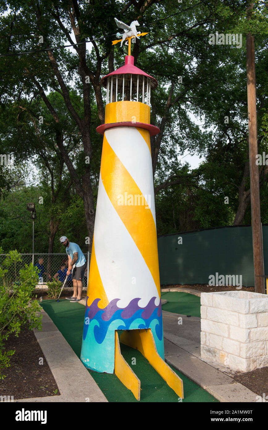 One of the outsized obstacles at the Peter Pan miniature-golf course in Austin, Texas Stock Photo