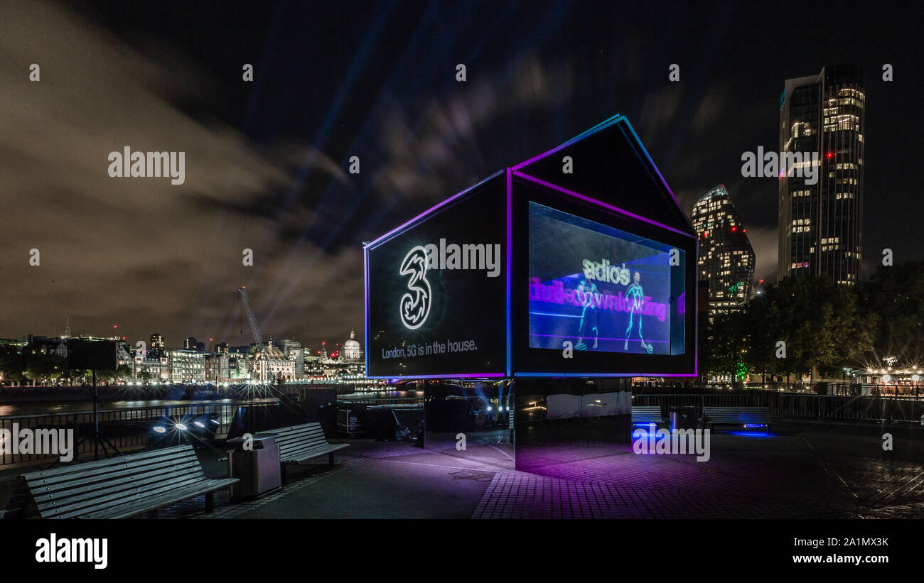 London, England, September 27, 2019. Three UK brings 5G holographic ad to London's South Bank Stock Photo