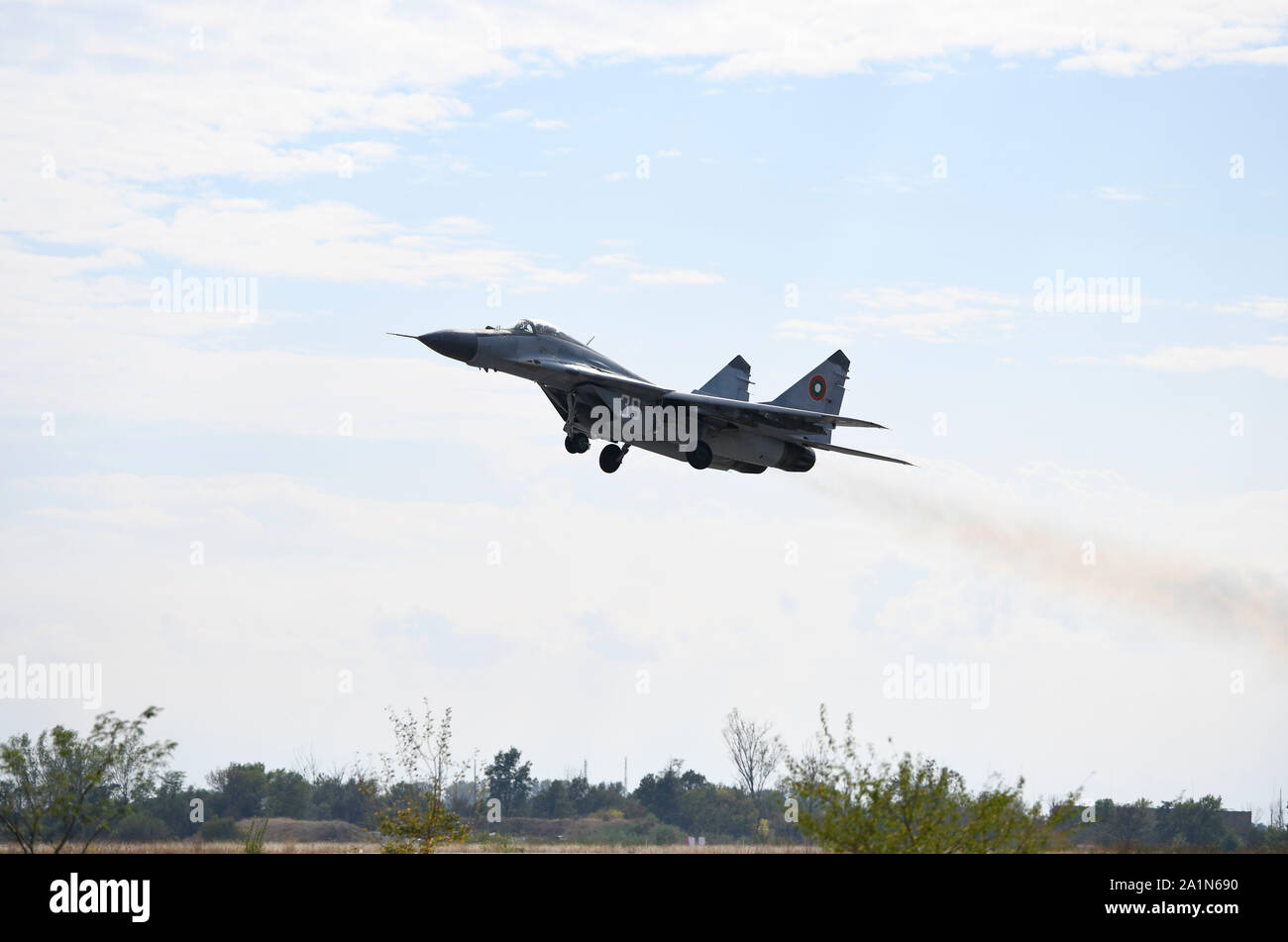 A Bulgarian Air Force MiG-29 takes off during exercise Rapid Buzzard Sept. 25, 2019, at Graf Ignatievo Air Base, Bulgaria. The 510th Fighter Squadron conducted air-to-air training with Bulgarian MiG-29s and air-to-surface training with Bulgarian Air Defense assets.  (U.S. Air Force photo by Senior Airman Savannah L. Waters) Stock Photo