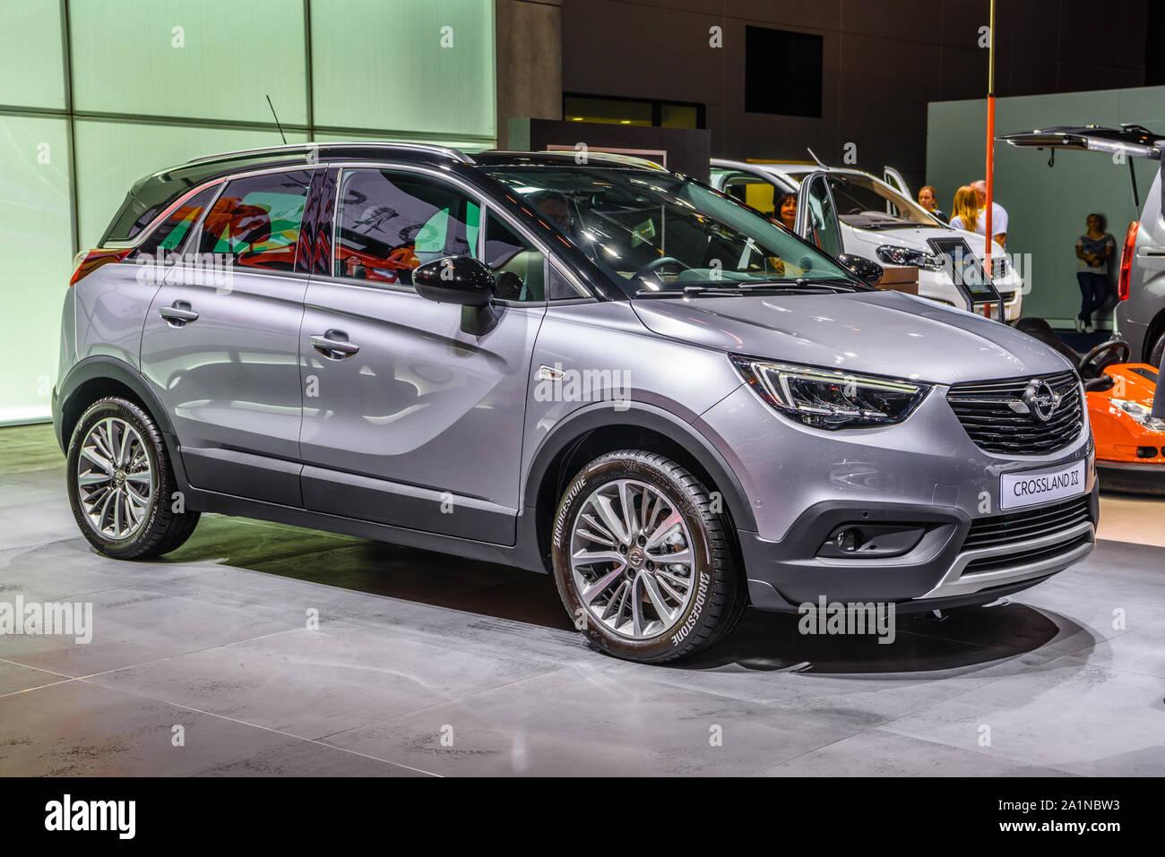 Frankfurt Germany Sept 2019 Silver Gray Opel Crossland X Small Suv Iaa International Motor Show Auto Exhibtion Stock Photo Alamy