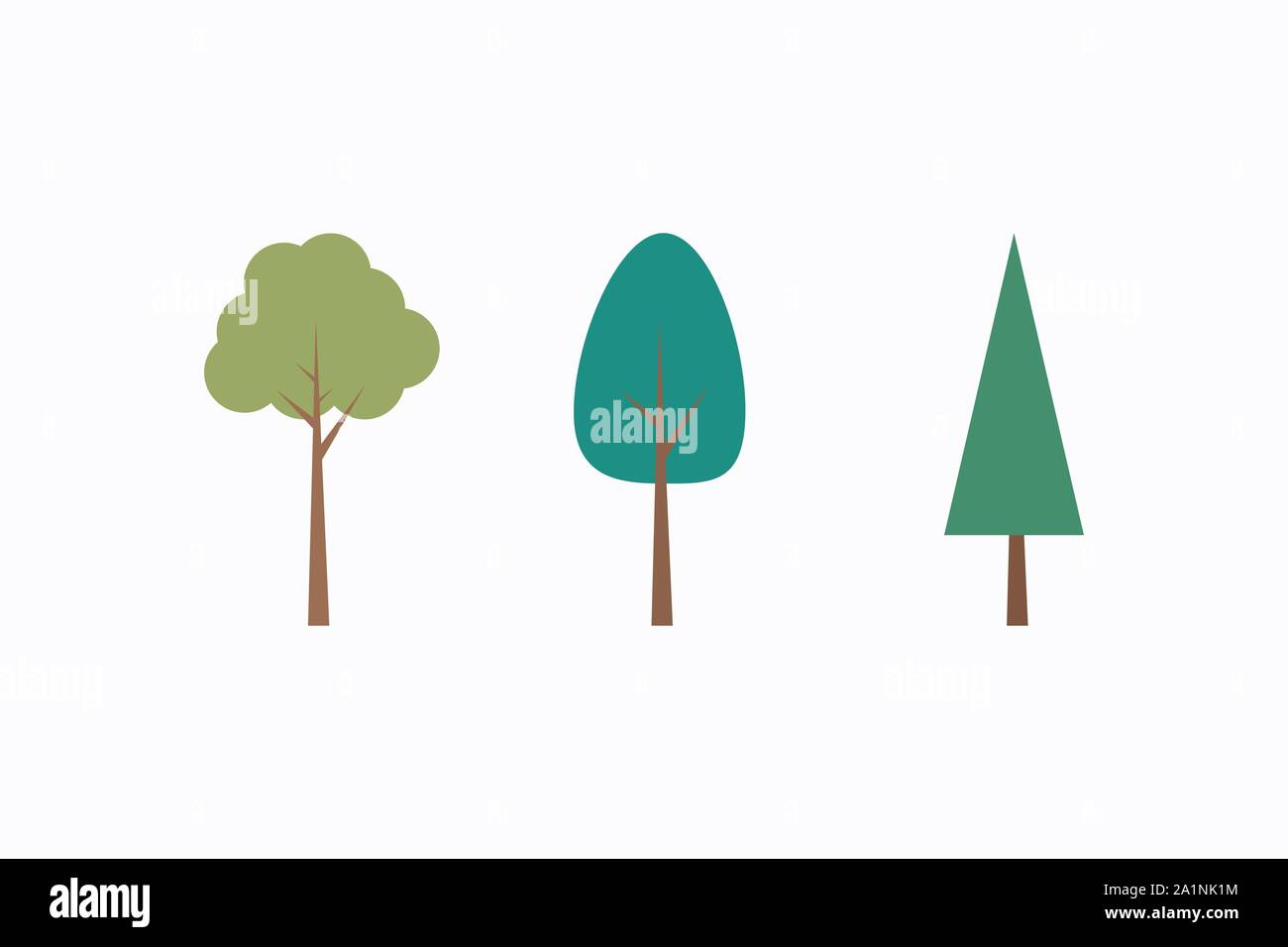 Vector Image Green Trees Set Flat Forest Tree Icon Stock Vector Stock Vector Image Art Alamy